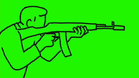 Man Firing Assault Rifle Drawing 2D Animation Animación