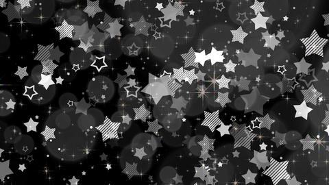ポップな星エフェクトとキラキラエフェクト-モノクロ/黒背景 CG動画