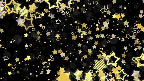 ポップな星エフェクトとキラキラエフェクトのフレーム-イエロー/黒背景 CG動画