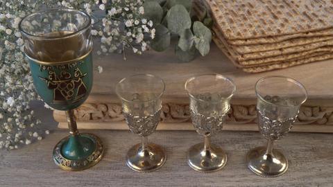 Kosher four glasses wine holiday matzoth celebration matzoh jewish passover Live Action