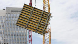 Concrete Panel Transported by Construction Crane Live Action
