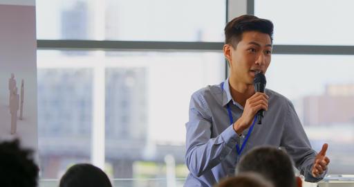 Male speaker speaking in the business seminar 4k Live Action
