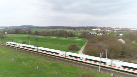 German ICE highspeed train passing by Live Action