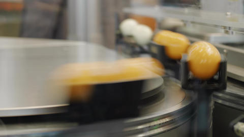 Flexible transport system, balls on high speed conveyor belt Footage