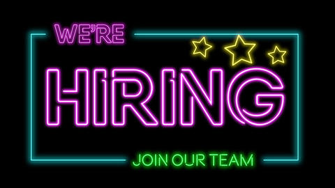 Multicoloured neon sign of the word 'We're hiring' Animation