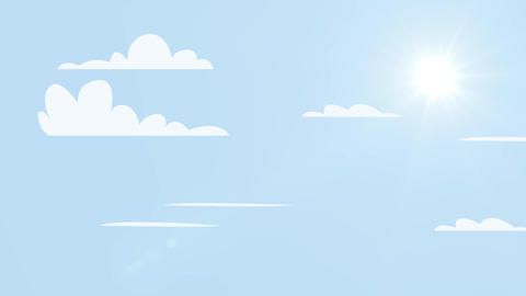 Sunny background, blue sky with white clouds moving and sun motion video.Cartoon scene skyscape Animation