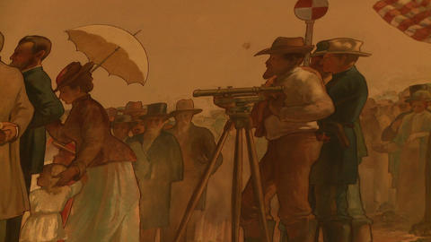 Tight shot of a painting of the Transcontinental Railroad ceremony. Focused on a Footage