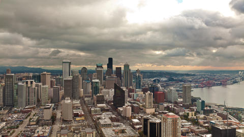 Time lapse looking toward downtown Seattle from the Space Needle Footage