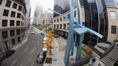Time lapse of downtown city street in Seattle Footage