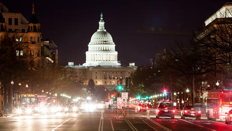 Time lapse of the US Capitol at night Footage