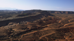 Panning shot of the arid Moab Desert in Utah Footage