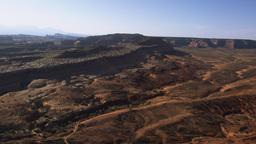 Panning shot of the arid Moab Desert in Utah Footage