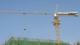 Crane at construction site,Phnom Penh,Cambodia Footage