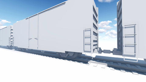 Abstract freight train 3D animation Animation