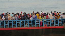 Ferry boat leaving full with passengers,Phnom Penh,Cambodia Footage