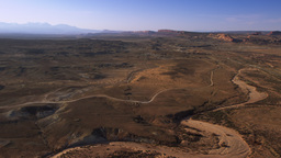 Wide Panning shot of valley in Moab, Utah Footage