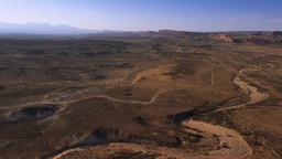 Wide Panning shot of valley in Moab, Utah Footage