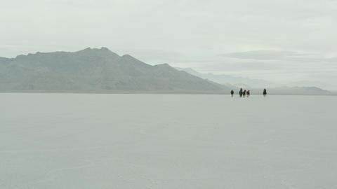 Horses running with cowboys riding across salt flats Footage