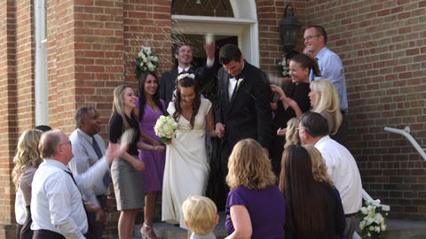 Guests throwing rice over a newlywed couple Footage