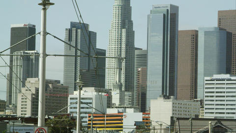 Zoomed pan of the sky scrapers in Los Angeles Live Action