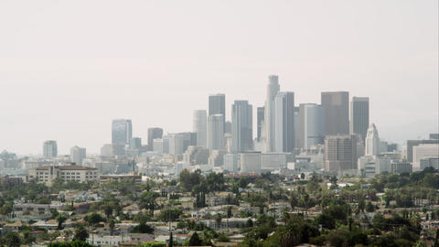 Panning view of Los Angeles with a smoggy sky Live Action