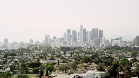 Panning view of Los Angeles with a smoggy sky Footage