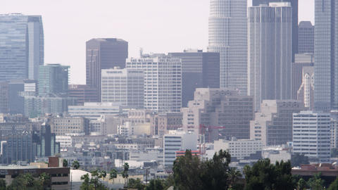 Zoomed pan of Los Angeles with heat distortion Live Action