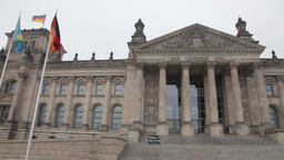 Pan view Reichstag building in berlin germany on a cloudy day Footage