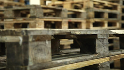 wood pallets in warehouse, slider shot Footage