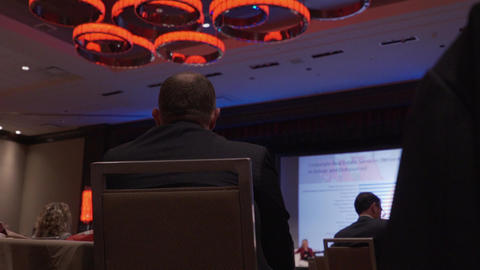 Back of man at a conference Footage