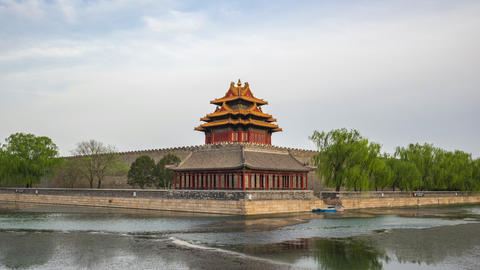 Timelapse of Corner Tower of Forbidden city in Beijing, China time lapse Live Action