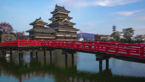 Matsumoto Castle day to night time lapse in Matsumoto, Nagano Prefecture, Japan Footage