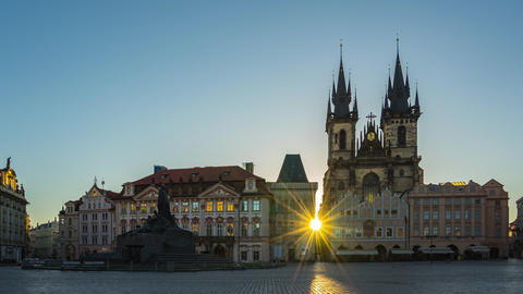 Sunrise at Prague old town square in Czech Republic time lapse Footage