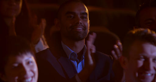Mixed-race businessman applauding in business seminar at auditorium 4k Live Action