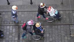 Senior citizen parade top view Footage