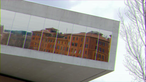 Glitch effect. Reflection. National Museum of the XXI century (MAXXI). Rome, Italy Footage