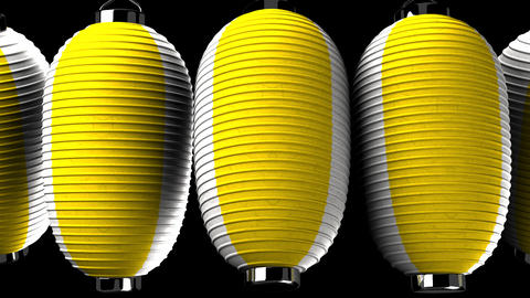 Yellow and white paper lanterns on black background CG動画