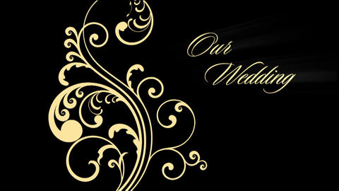 Our Wedding text rays spiral graphics Animation