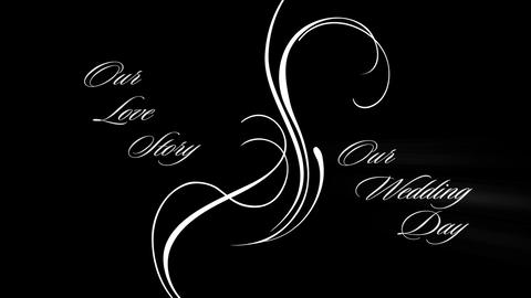 Our Love Story and Our Wedding Day text rays spiral graphics Animation