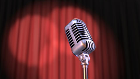 Zoom In Vintage Microphone and Red Curtain with Rotating Spotlights Animation