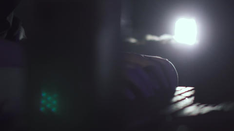 Portrait of a young man with glasses who works at night. young programmer Footage