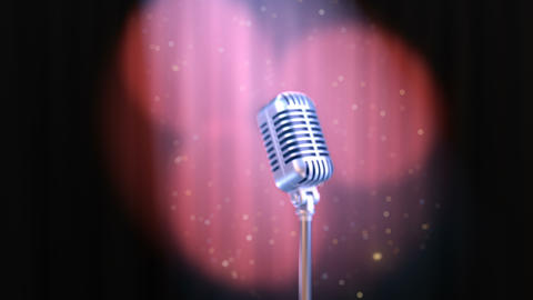 Zoom In Retro Microphone and Red Curtain with Rotating... Stock Video Footage