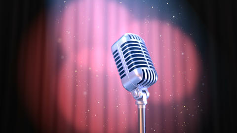 Zoom In Retro Microphone and Red Curtain with Rotating Spotlights Animation