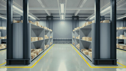 Interior of modern warehouse Animation
