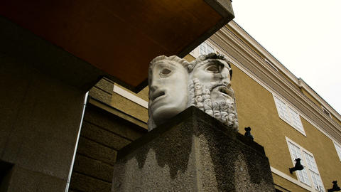 theatrical masks, with tragic and comic expression, at the Salzburg Festival Footage
