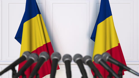 Romanian official press conference with flags of Romania. 3D animation Footage