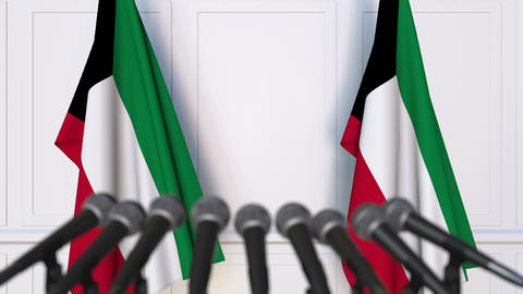 Kuwaiti official press conference with flags of Kuwait. 3D animation Footage