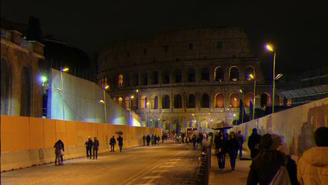 Glitch effect. Rome by night. Via dei Fori Imperiali. Rome, Italy Live Action