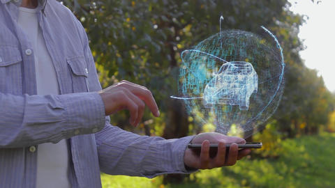 Man shows hologram with modern Suv Live Action