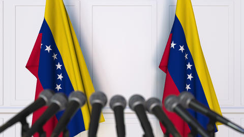 Venezuelan official press conference with flags of Venezuela. 3D animation Footage
